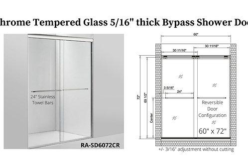 """60"""" x 72"""" Chrome Bypass Shower Door w/ Tempered Glass"""