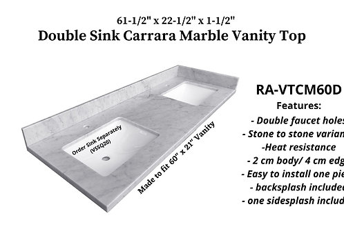 "61-1/2"" x 22-1/2"" Carrara Marble Double Vanity Top"