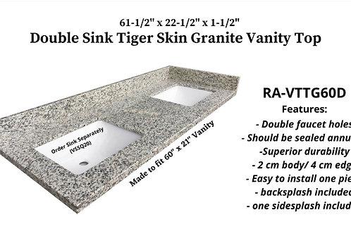 "61-1/2"" x 22-1/2"" Tiger Skin Double Granite Vanity Top"