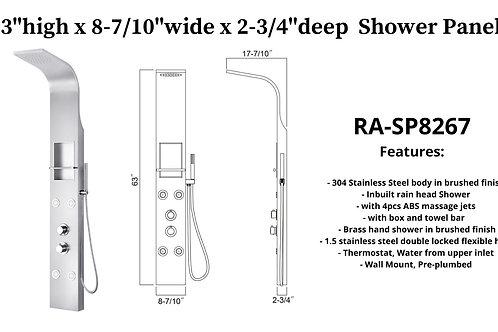 """63"""" x 8-7/10"""" x 2-3/4"""" Shower Panel w/ 4 ABS massage Jets"""