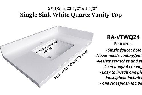 "25-1/2"" x 22-1/2"" White Quartz Single Granite Vanity Top"