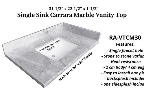 "31-1/2"" x 22-1/2"" Carrara Marble Single Vanity Top"