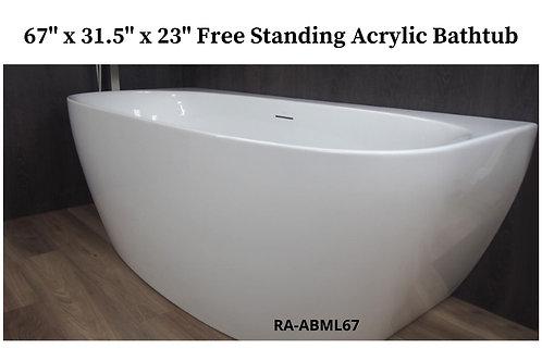"""67"""" x 31.5"""" x 23"""" Free Standing Acrylic Tub"""