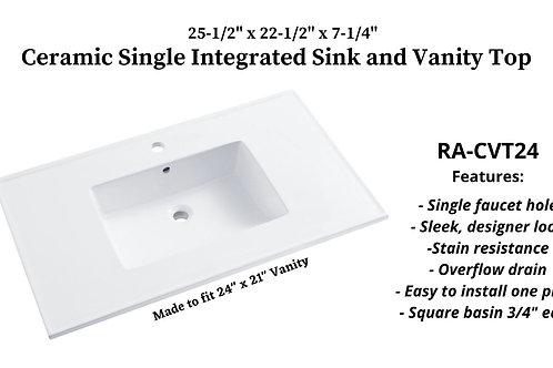 "25-1/2"" x 22-1/2"" Ceramic Integrated Sink Vanity Top"