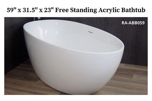"""59"""" x 31.5"""" x 23"""" Free Standing Acrylic Tub"""