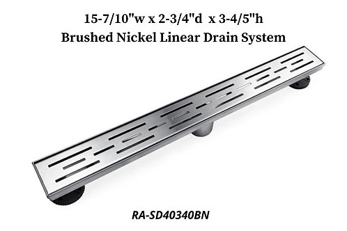 """15-7/10"""" Brushed Nickel Linear Drain System"""