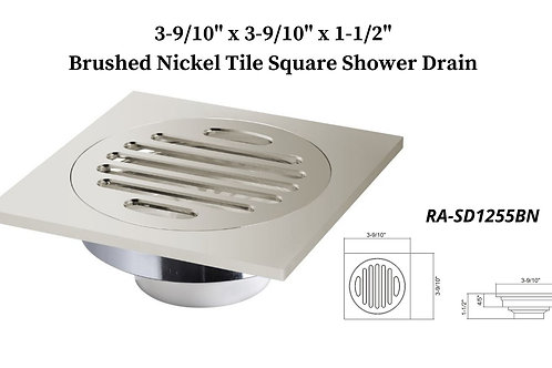 "3-9/10"" Brushed Nickel Square Shower Drain"