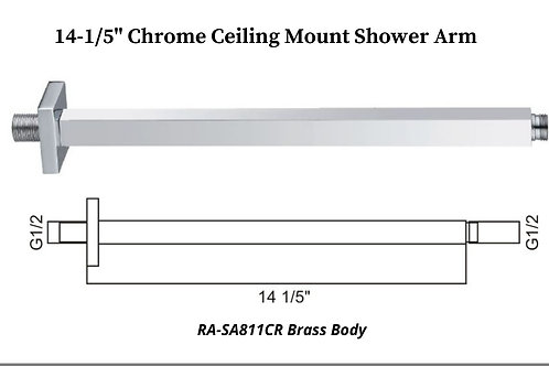 "14-1/5"" Chrome Ceiling Mount Square shower Arm"