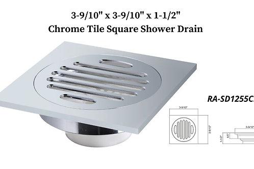 "3-9/10"" Chrome Square Shower Drain"
