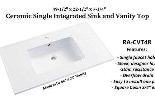 "49-1/2"" x 22-1/2"" Ceramic Integrated Sink Vanity Top"
