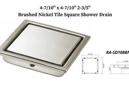 "4-7/10"" Brushed Nickel Square Shower Drain"