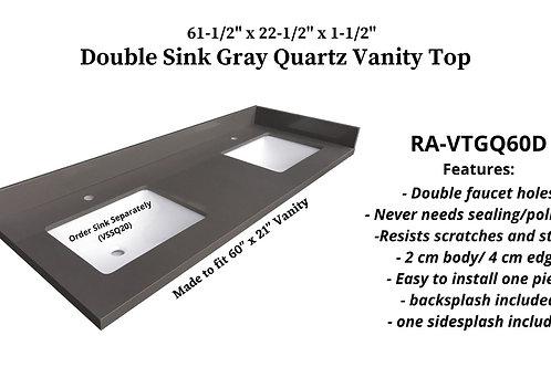 """61-1/2"""" x 22-1/2"""" Gray Quartz Double Vanity Top"""