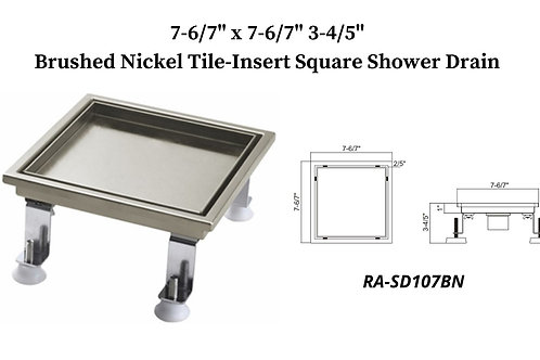 "7-6/7"" Brushed Nickel Tile Insert Square Shower Drain"