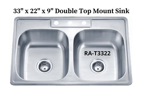 20g Stainless Double Drop-in Sink