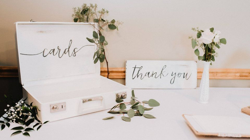 Cards box- & Thank-you sign - White collection