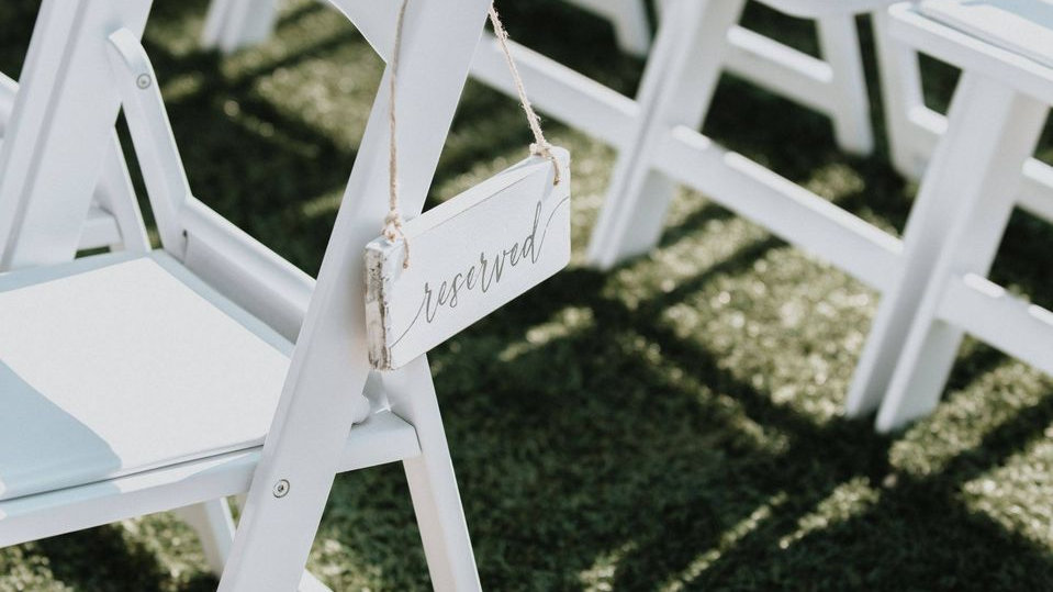White Reserved Chair Sign (4 qty)