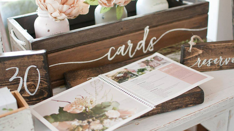 Wood tone card box & Thank you sign