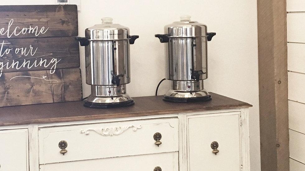Chrome Coffee Urns Qty 2