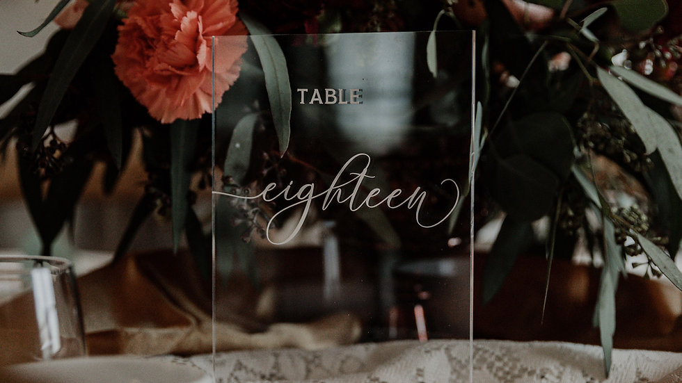 Clear table numbers with wood base #1-20