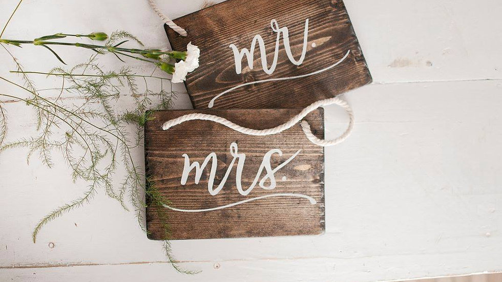 Mr & Mrs. Chair signs in wood tone