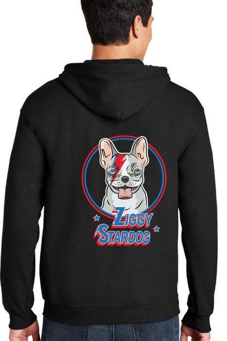 Ziggy Stardog Men's/ Unisex Zip Front Hoodie