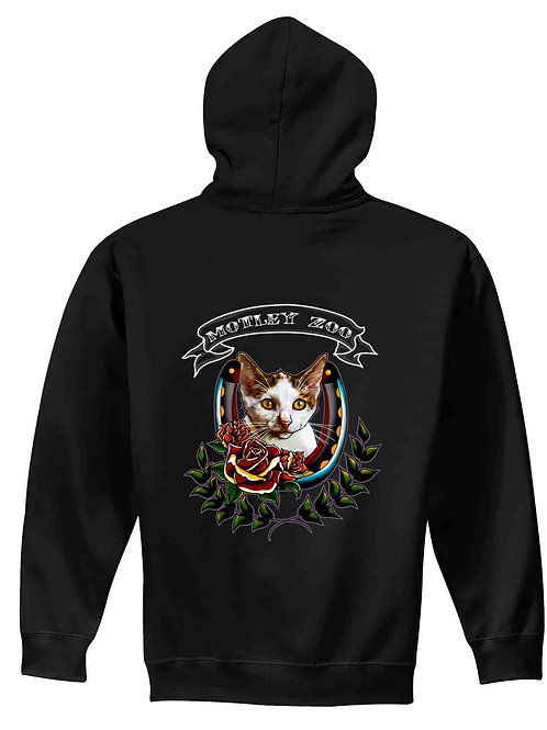 Old School Tattoo Cat Men's/ Unisex Zip Front Hoodie
