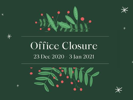 Office closure for Xmas and NY period