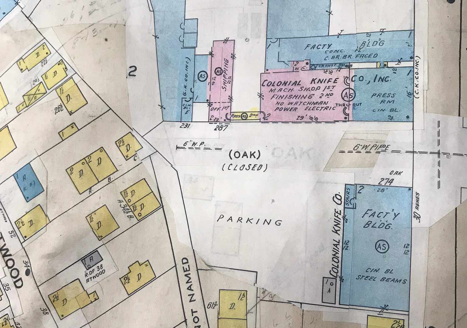 Historical Map Colonial Knife Property