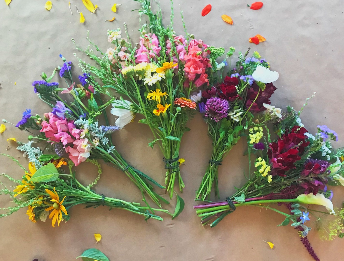 A sampling of the Farm's mid-summer bouquets