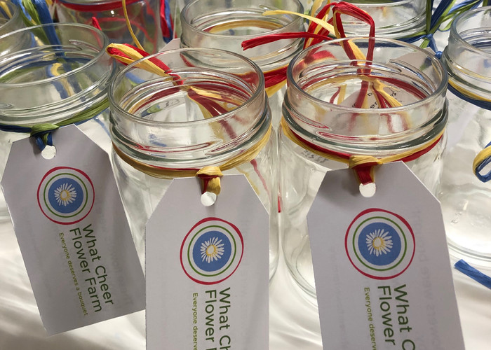Jam jars used for bouquets at the Farm's recycling events