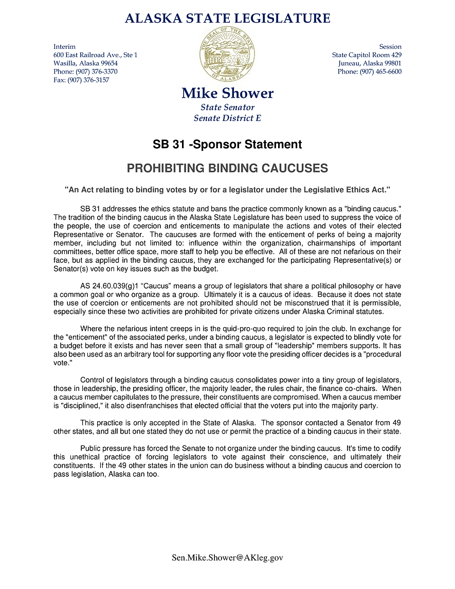 SB 31    —    Prohibiting Binding Caucuses