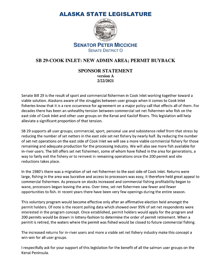 SB 29    —    Cook Inlet: New Admin Area;Permit Buyback