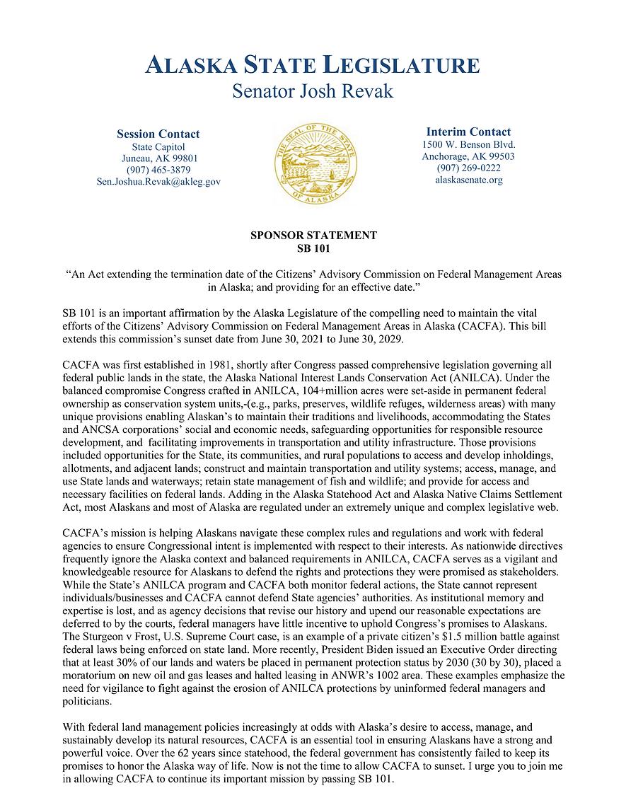 SB 101    —    Advisory Commission On Federal Mgt Areas