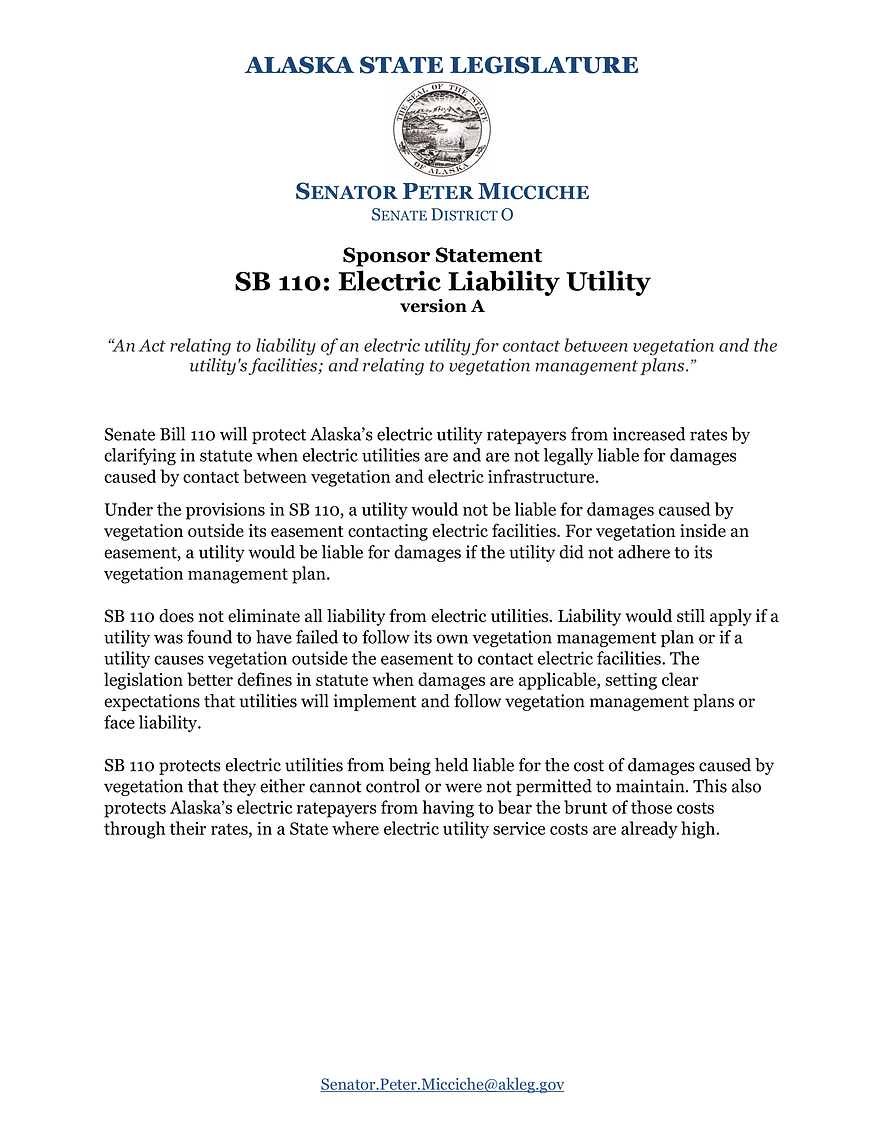 SB 110    —    Electric Utility Liability