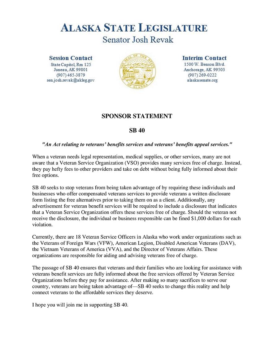 SB 40    —    Veterans' Benefits Services; Disclosure