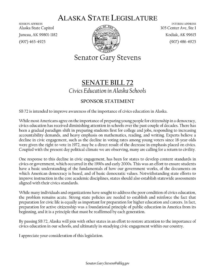 SB 72    —    Sec. School Civics Education