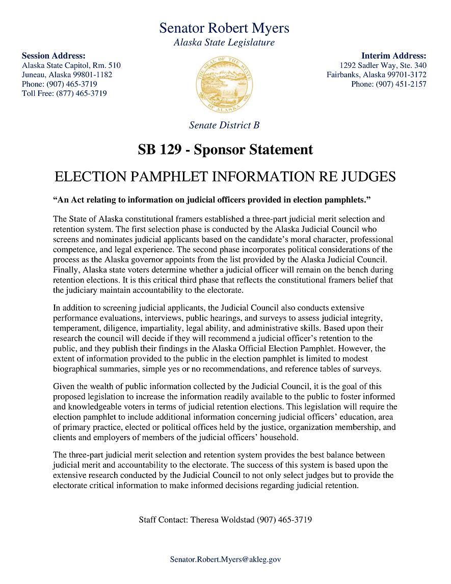 SB 129    —    Election Pamphlet Information Re Judges