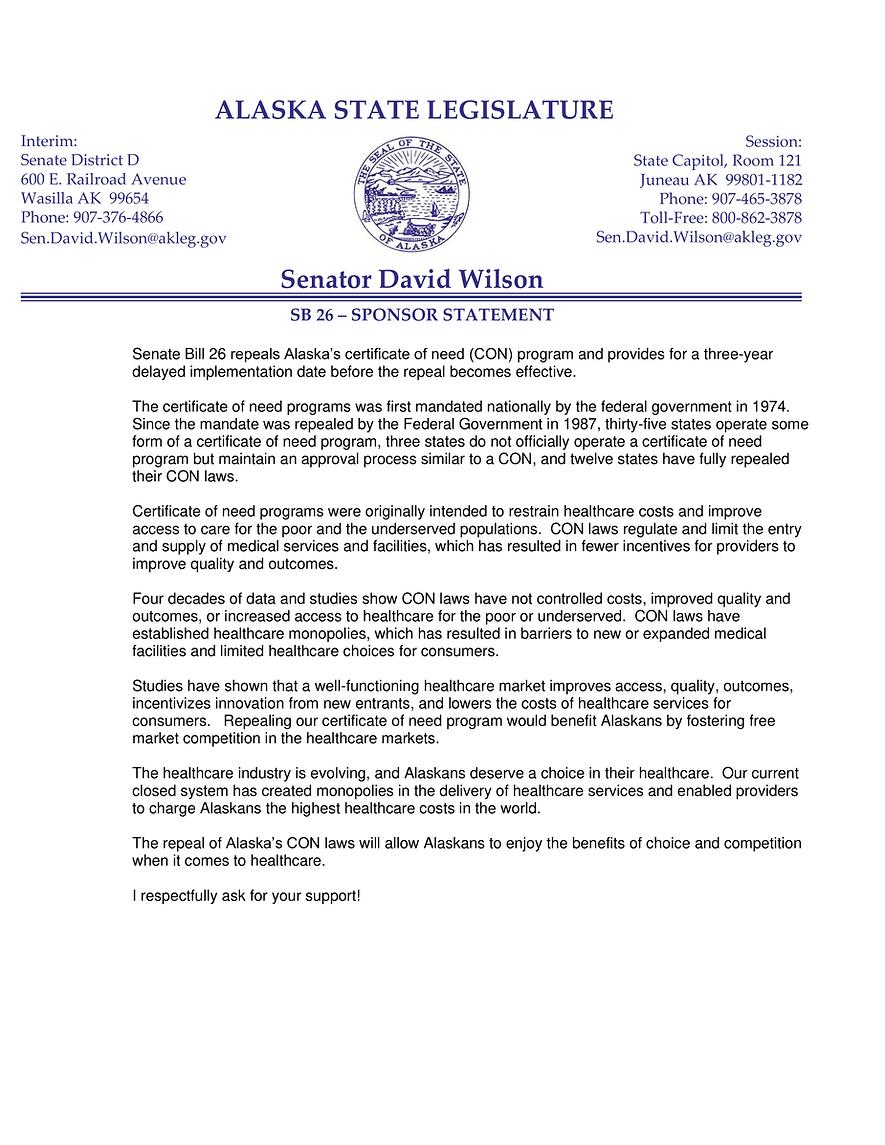 SB 26    —    Repeal Certificate Of Need Program