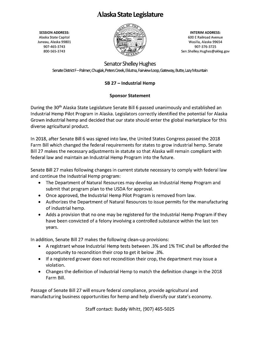 SB 27    —    Industrial Hemp Program;Manufacturing