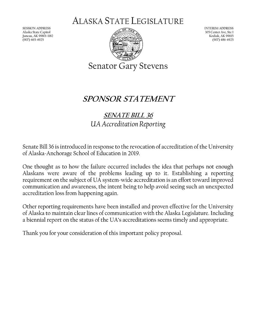 SB 36    —    U Of A Regents Reporting Requirements