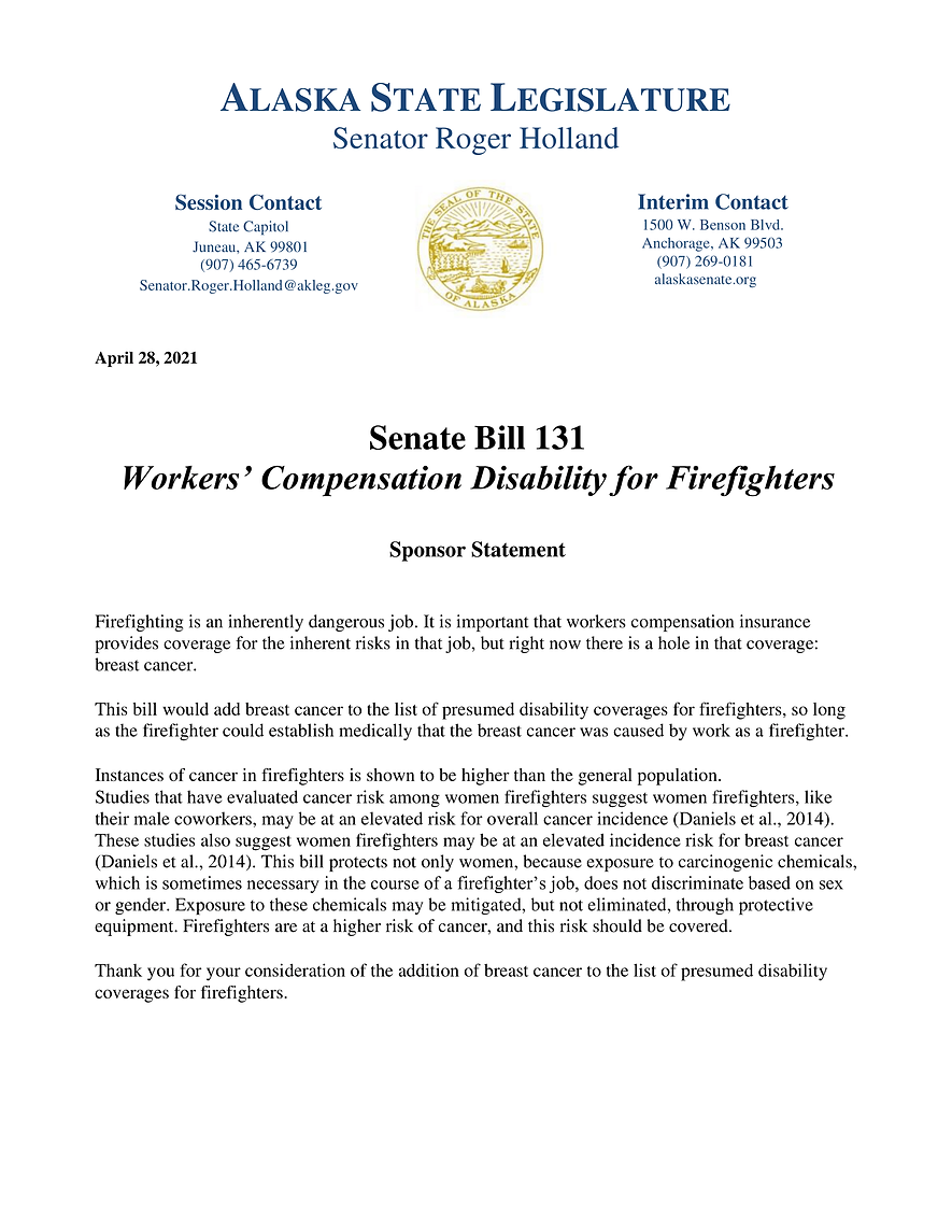 SB 131    —    Workers' Comp Disability For Firefighters