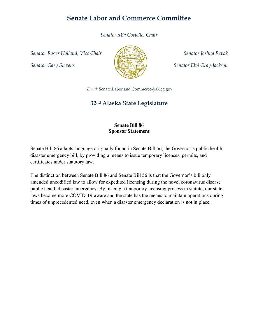 SB 86    —    Temporary Permits & Licenses