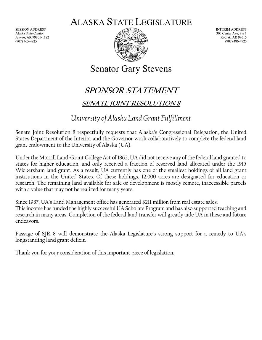 SJR 8    —    Completion Of University Land Grant