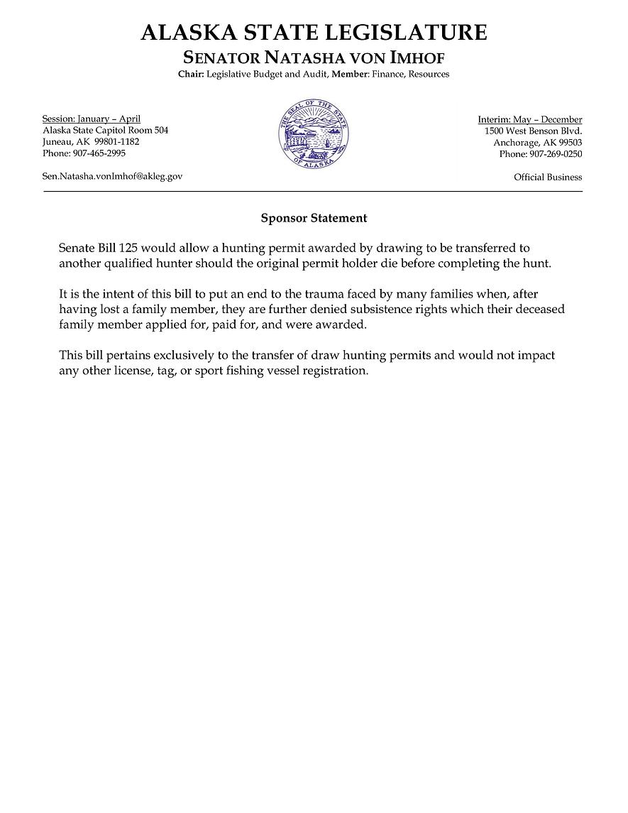 SB 125    —    Hunting Permits: Transferability
