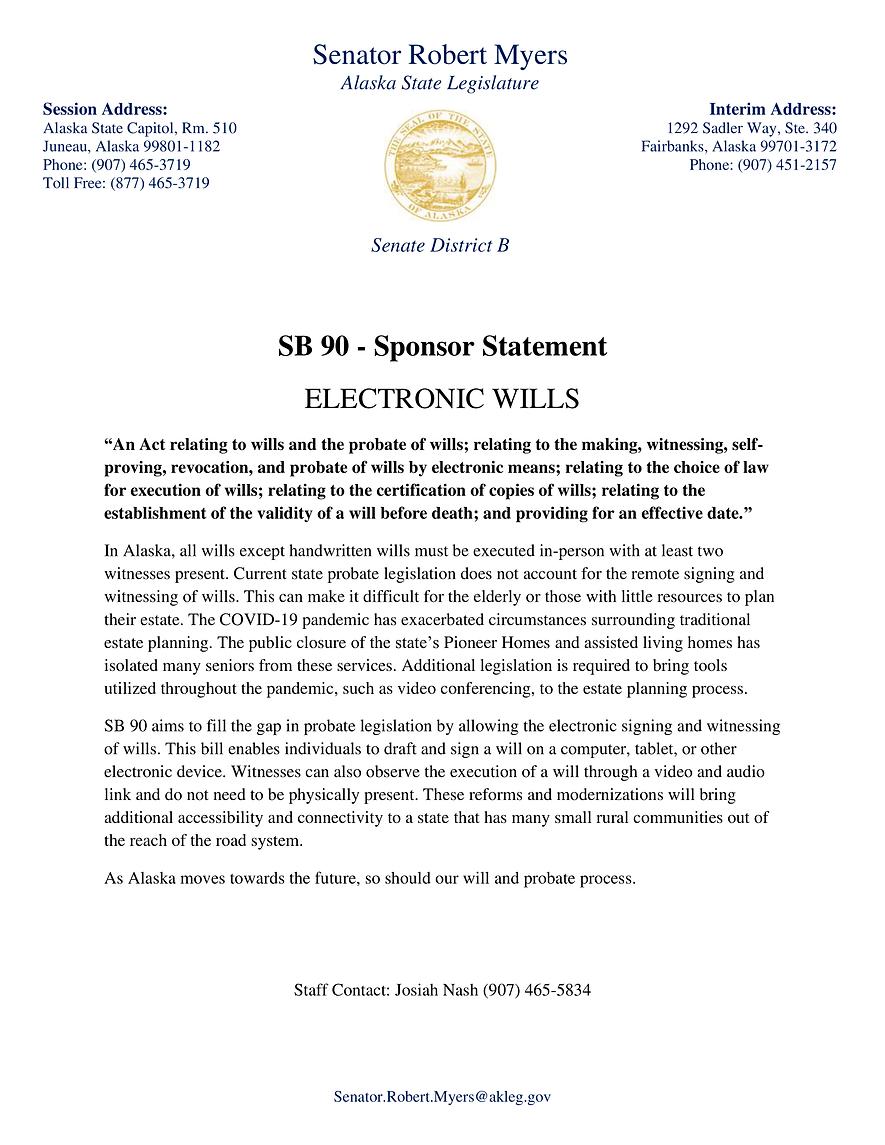 SB 90    —    Electronic Wills