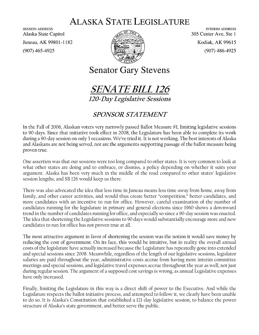 SB 126    —    Repeal 90 Day Session Limit