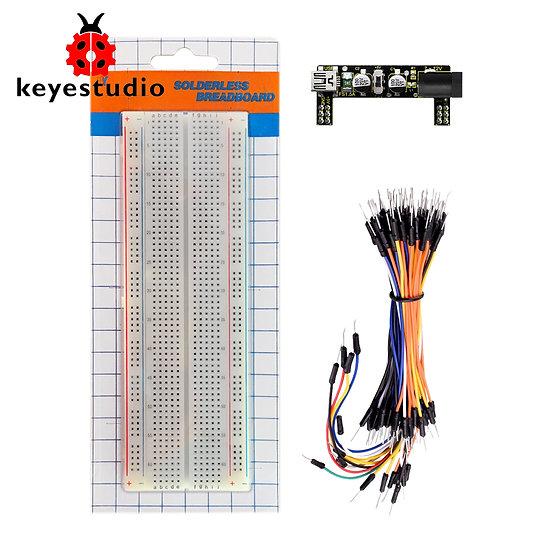 fuente de poder, tabla de circuitos 830 huecos y paquete de 65 cables para Ardui
