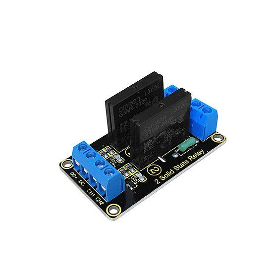 Módulo relevo de estado sólido, 2 canales para Arduino, marca Keyestudio