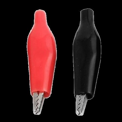 Pinzas de prueba tipo cocodrilo recubiertas de plástico blando, negro y rojo