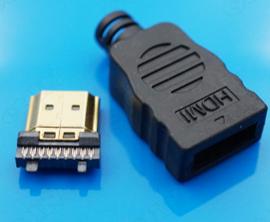 HDMI macho con carcasa de plástico placa de oro 19Pin enchufe, conectores soldad